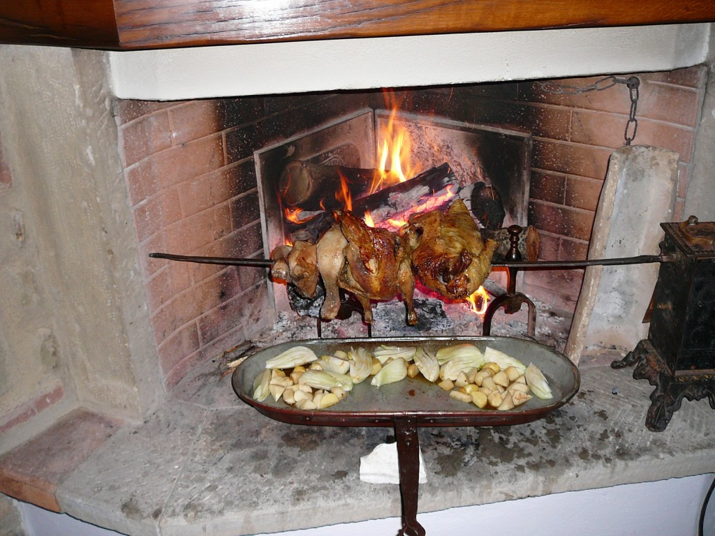 Dinner on an open fire - Chicken, Quail, turning on a spit in our kitchen fireplace
