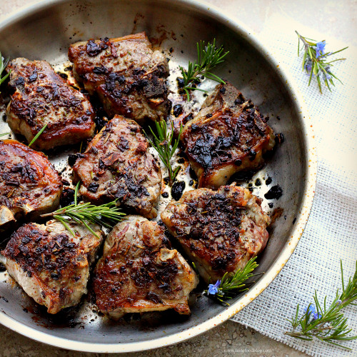 Rosemary and Porcini crusted Lam Loin Chops